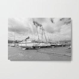 Boats in Tenby Harbour Metal Print