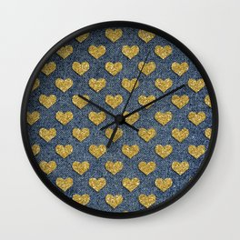 Gold Heart Blue Jean Denim Effect Pattern Wall Clock