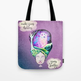 Make your Dreams Your Reality - Whimsical Watercolor Girl Galaxy Moonscape Tote Bag