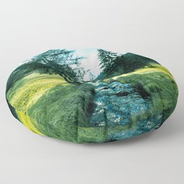 Green fields, trees and a magical brook Floor Pillow