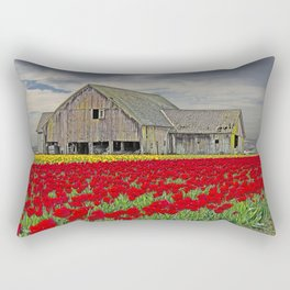 RED TULIPS AND BARN SKAGIT FLATS Rectangular Pillow
