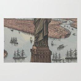 Vintage NYC & Statue of Liberty Illustration (1885) Rug