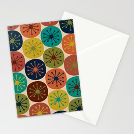 Atomic Dots Pattern in Mid Mod Teal, Orange, Olive, Blue, Mustard, and Beige Stationery Cards