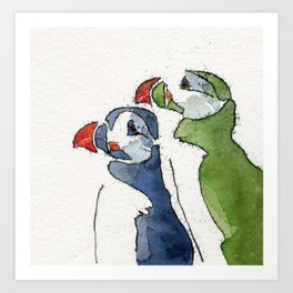A Huffin and a Puffin Art Print