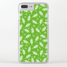 Christmas Pattern, Whimsical Leaves, Green Clear iPhone Case