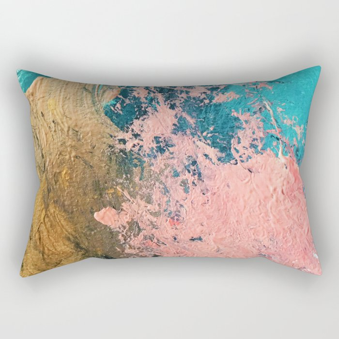 Coral Reef [1]: colorful abstract in blue, teal, gold, and pink Rectangular Pillow