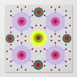 Colored discs with dots Canvas Print