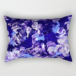 FLORAL FANTASY 2 Bold  Blue Lavender Purple Abstract Flowers Acrylic Textural Painting Garden Art Rectangular Pillow