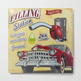 Filling Station, 1950's Style Metal Print