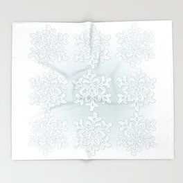 Crocheted Snowflake Ornaments on teal mist Throw Blanket