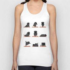 Black Pug Yoga Unisex Tank Top
