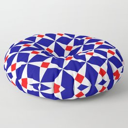Symmetric patterns 132 red and dark blue Floor Pillow