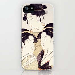 Three Beauties of the Present Day - Japanese Woodblock Print iPhone Case