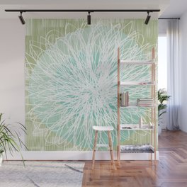 Doodle Flowers in Mint by Friztin Wall Mural