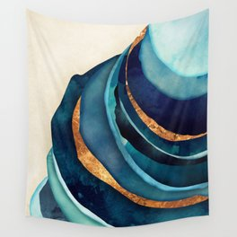 Abstract Blue with Gold Wall Tapestry