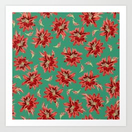 Red Christmas Flowers on Green Botanical Floral Pattern Art Print