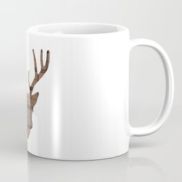 Plaid Deer Head: Dark Brown Coffee Mug
