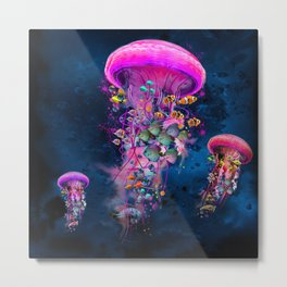 Floating Electric Jellyfish Worlds Metal Print