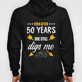 50th 50 year Wedding Anniversary Gift Dig Husband Wife design Hoody