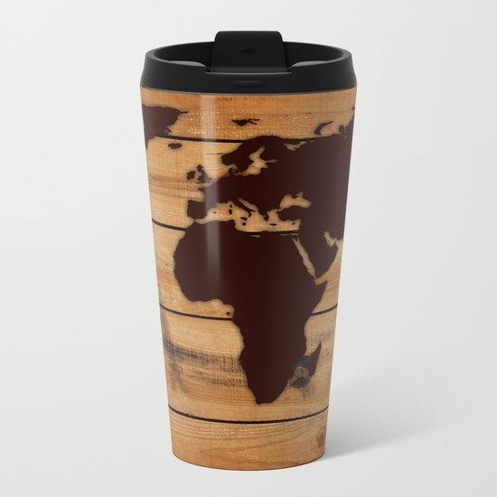 map world wood Metal Travel Mug
