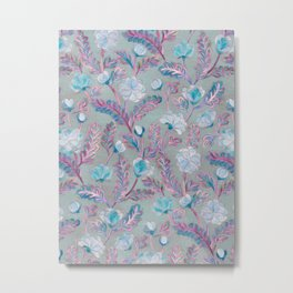 Soft Smudgy Blue and Purple Floral Pattern Metal Print
