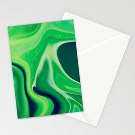 Harmonious Greens Abstract Art, Digital Fluid Artwork Stationery Cards