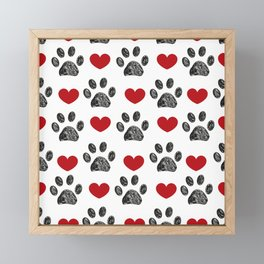 Doodle black paw print with red shining hearts seamless pattern Framed Mini Art Print