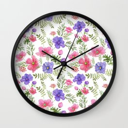 Seamless pattern of pink and purple meadow flowers on a white background. Wall Clock