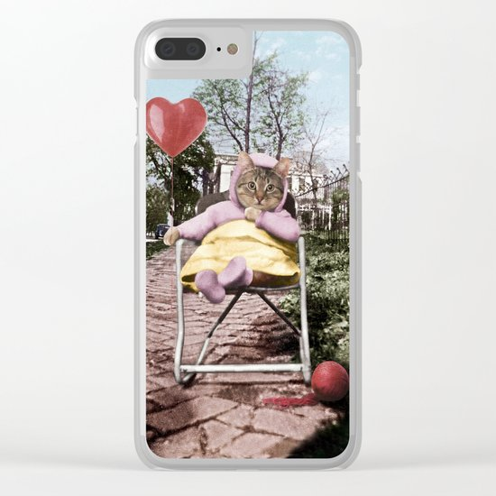 A pretty, little kitty with a heart-shaped balloon Clear iPhone Case