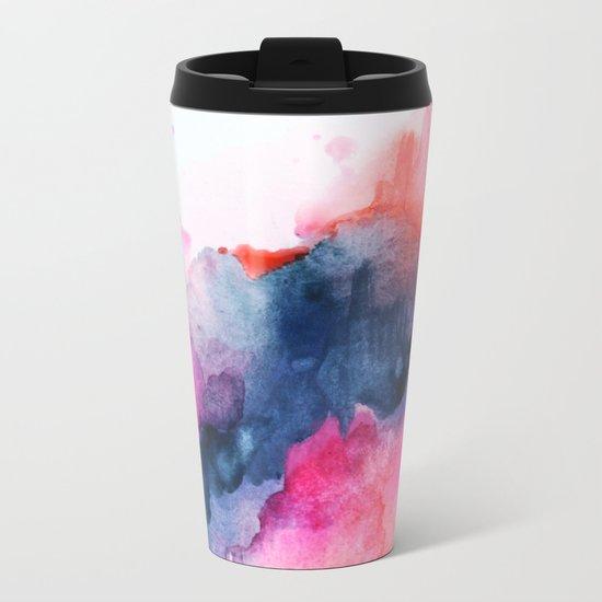 Abstract watercolor Orange Pink Metal Travel Mug