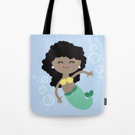 Black Hair Mermaid Tote Bag