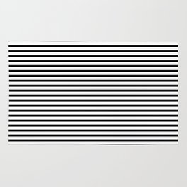 White Black Stripe Minimalist Rug