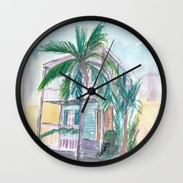 Key West Conch Dream House-Pink Turquoise And Palm Wall Clock