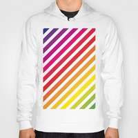 striped Hoodies featuring Striped Rainbow by Stephanie Keyes Design
