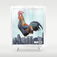 cock Shower Curtains featuring A HUGE COCK by John Medbury (LAZY J Studios)