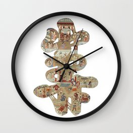 Chinese 'Shou' longevity character - silk embroidered calligraphy - lucky cursive symbol Wall Clock