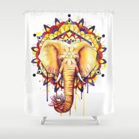 ornate elephant Shower Curtains featuring Elephant Mandala by Sam Nagel