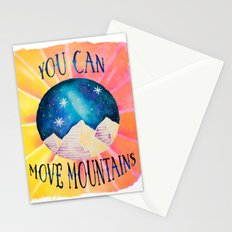 You Can Move Mountains - Galaxy Night Sky Motivational Watercolor Stationery Cards