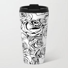 Hand drawn roses pattern Metal Travel Mug