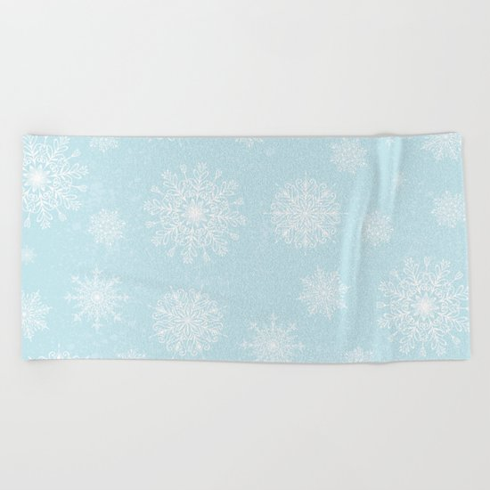 Assorted White Snowflakes On Light Blue Background Beach Towel