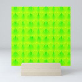 Pearlescent pattern of lime hearts and stripes on a green background. Mini Art Print