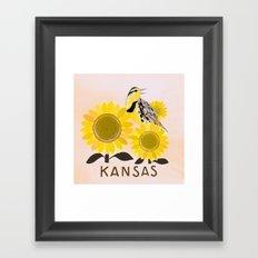 Kansas State Bird and Flower Framed Art Print