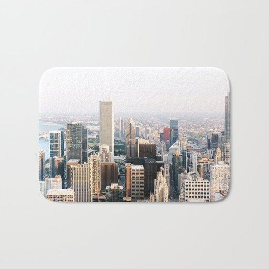 Chicago Illinois Aerial View Bath Mat