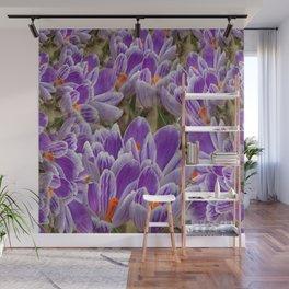 Striped Purple Crocuses Manipulated Wall Mural