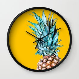 Pineapple Ananas On A Yellow Mellow Background #decor #society6 #buyart Wall Clock