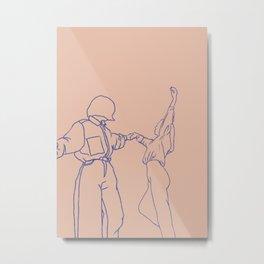 girls dancing line art Metal Print