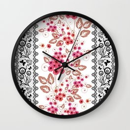 Red flowers . Wall Clock