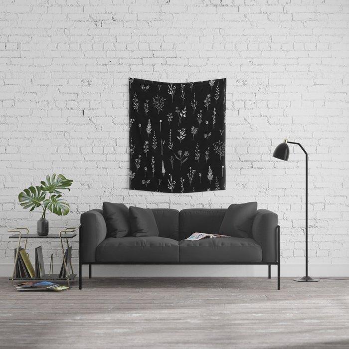 Black wildflowers Wall Tapestry