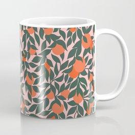 Oranges and Leaves Pattern - Pink Coffee Mug