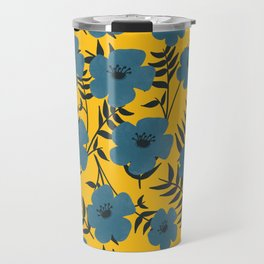 Blue Flowers with Banana Leaves with Yellow Travel Mug
